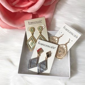 3 Sets of Earrings NWT Rhinestones Triangle Drop